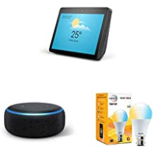 Echo Show (Black) bundle with free Echo Dot (Black) and free Wipro white smart bulb
