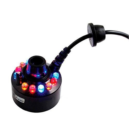 Fuloon 12 LEDs Mist-Maker Nebel-Luftbefeuchter 12 LEDs Nebel-Hersteller mit AC-Adapter mit Automatisch Farbwechsel Test