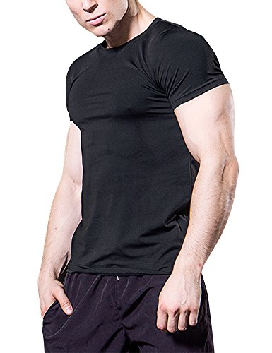 MinYuocom T-Shirt Compression Sport Manches Courtes - Homme MZS5011B-XL