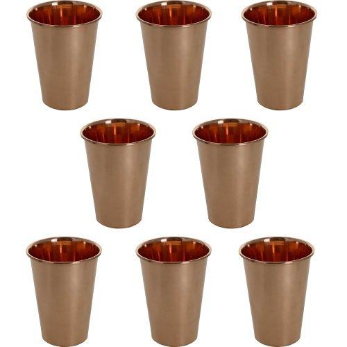 Tasse de verres d'eau de gobelet de cuivre pur de 10.2oz pour servir l'eau ayurveda d'avantage de santé de yoga, ensemble de 8