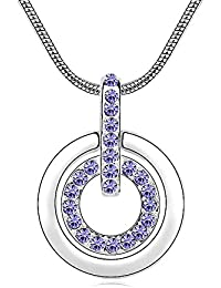 Silver Crystal Diamond Accent Round Circle Pendant Chain Necklace Made with Swarovski Crystal, with a Gift Box