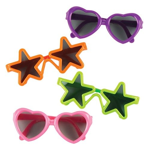 Baker Ross Lustige Sonnenbrillen - Stern und Herz - für Kinder - Spielzeug als Mitgebsel zum Kindergeburtstag (4 Stück)