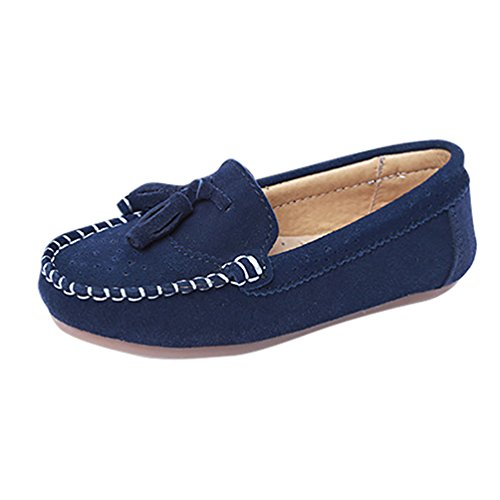 CHENGYANG Girls Boys Casual Flats Slip-On Loafers Outdoor Boat Moccasins Shoes (Dark Blue, 2 UK)