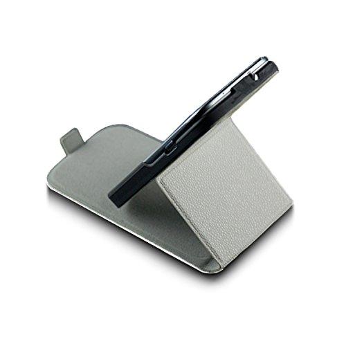 Saxonia Apple iPhone SE 5 5S Hülle Flip Tasche Case Hülle Schutzhülle Magnetverschluss Schwarz-Braun Stand Weiß