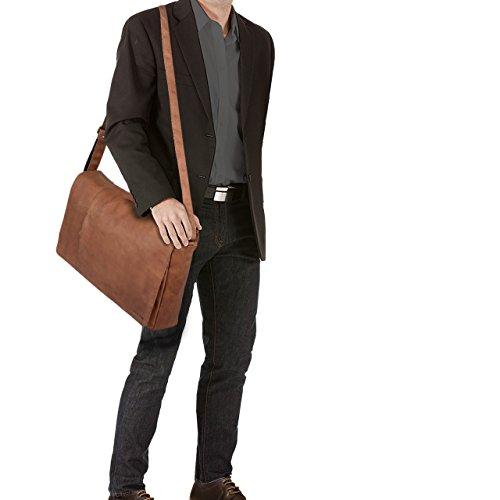STILORD Borsa a tracolla grande XXL Notebook Bag College Bag 19 pollici Borsa per l'università in vera pelle pelle marrone Marrone