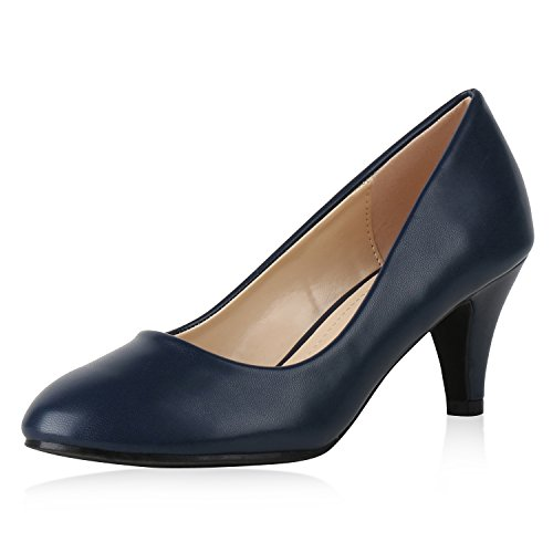 SCARPE VITA Klassische Damen Pumps Leder-Optik Schuhe Stiletto Mid Heels Basic Abendschuhe Kleiner Absatz 160210 Dunkelblau Glatt 41 - Mid Heel Heels Schuhe