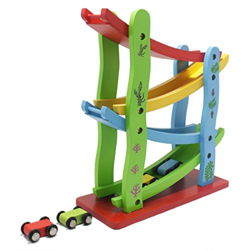 JJOnlineStore - Wooden Colourful Baby Kid Toddler Click Clack Zig Zag Race Car Track Slider Toy Game
