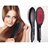 Gopani Professional Ceramic Hair Straightener Brush, Black