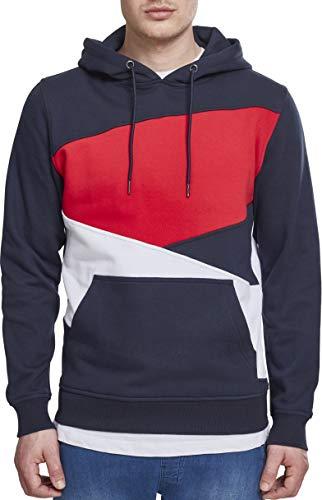 Urban Classics Herren Kapuzenpullover Zig Zag Hoodie, Farbe Navy/White/Fire Red, Größe 3XL -