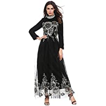 Hougood Abaya Robes Femmes Maxi Robe Demoiselle D honneur Robe Musulman  Islamique Manches Longues Dubai 837e422c16e