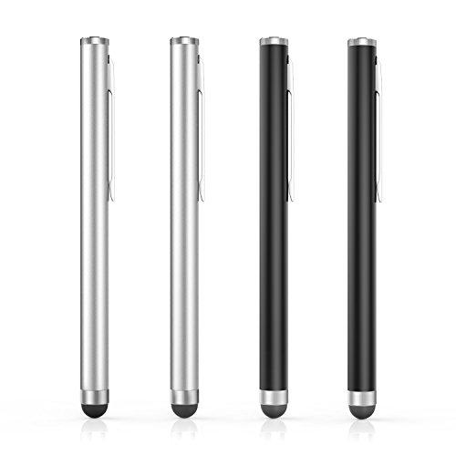 MoKo Universal Stylus Stift (4 Stück) - 8mm Durchmesser Gummi Spitze Hoch Präzis Touchstift Eingabestift, geeignet für Apple ( iPhone 8, iPad ), Tablets, Smarphones, Silber / Schwarz
