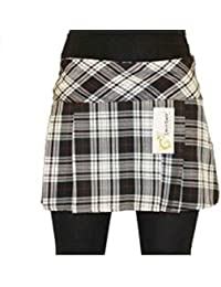 14 Inch Women's Sexy Pleated Tartan Skirt Schoolgirl Fancy Dress Costume (Black, Grey & White)