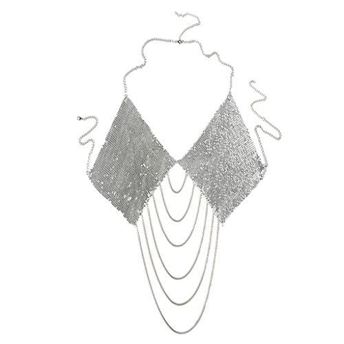 MagiDeal Frauen BH Kette Pailletten Halskette Tanzkostüm Körper Kette Mode Schmuck - Silber - Silber Pailletten-bh