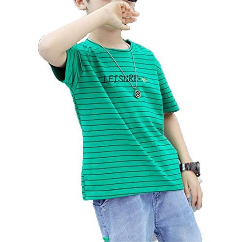 ZXioHat-cl Jungen Kleidung Sets Niedliche Druck Kurzarm T-Shirt Shorts Set mit Denim Cropped Hosen Streifen Rundhalsausschnitt Shorts Outfits Set für Jungen Kurzarm Tops Shirt Hosen (Pant Set Green Cropped)