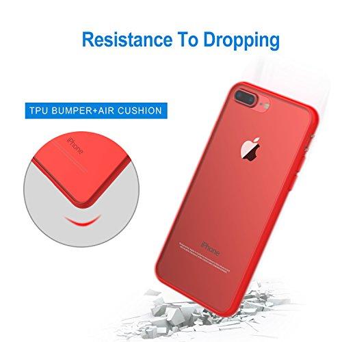 """JETech Apple iPhone 8 Plus / 7 Plus Hülle Tasche Schutzhülle Case Cover Bumper und Anti-Scratch Löschen Back für iPhone 7 Plus 8 Plus 5.5"""" (Schwarz) Rot"""
