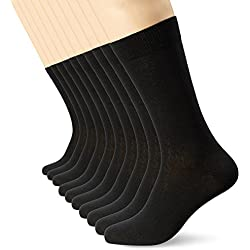 FM London, Calcetines para hombre, negro (paquete de 10), 39/45