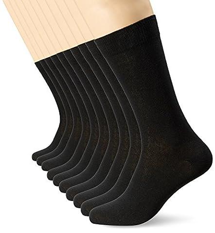 FM London Mens Black Socks (10 Pack) FM® Comfortable, Everyday, Breathable Calf Socks – Plain, Smart Design with Elastic Cuff,Size:6-11 UK (39-45 EU)
