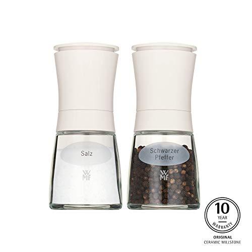 WMF Trend Mühlenset 2tlg, Salz- und Pfeffermühle befüllt, Glasbehälter, Keramikmahlwerk, Mühle für Salz, Pfeffer, Gewürze, weiß