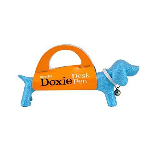 xonex-doxie-desk-pen-black-ballpoint-4-1-2-inch-glitter-blue-44538-by-onex