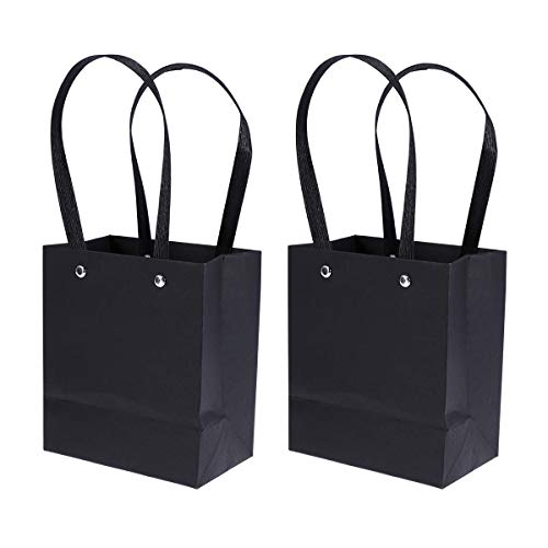 Amosfun 5 Pcs Kraft Paper Bags Gift Tote Bag with Handle for Birthday Wedding Festival Chirstmas Party (Black) Standard Retail-pc