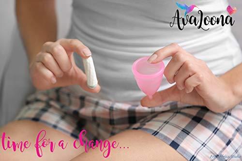 AvaLoona Menstruationstasse klein medizinisches Silikon – 1 EUR pro Menstruationskappe geht an Terre des Femmes (1 Menstruationsbecher) (klein, rot) - 9