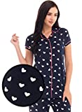 ZEYO Women's Cotton Light Pink & Navy Blue Heart Print Stylish Night Suit