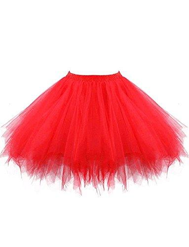 DYSS Damen 1950er Jahre Knielanger Petticoat Vintage Krinoline Tüll Ballett-Blase Tutu Rock (Rot, L/XL) (Petticoat Krinoline Machen)