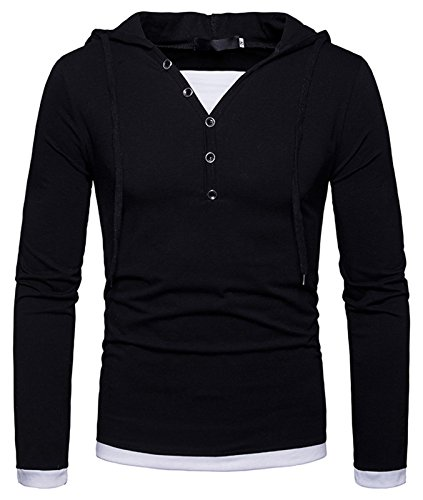 Whatlees Herren Urban Basic Design Langarm T-Shirt Kapuzenpullover mit Henley kragen und Kapuze B925-Black (Diamond Shirts Print)