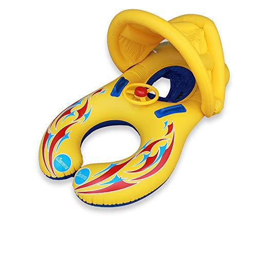 TXDY Aufblasbare Schwimmringe der Mutter und des Babys, Eltern-Kindschwimmen-sicherer Sitz-aufblasbarer Schwimmen-Ring mit entfernbarem Sun Conopy Sommer-Spaß-Schwimmen-Spielzeug