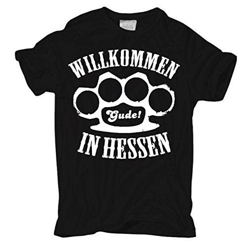 Männer und Herren T-Shirt Willkommen in Hessen Körperbetont schwarz