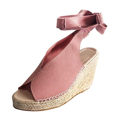 B-COMMERCE Damenmode Open Toe Krawatte Lace Up Espadrille Platform Wedges, Sommer Knöchelriemen Slingback Kleid Schuhe für Elegante Laides Lace Up Platform Sandal