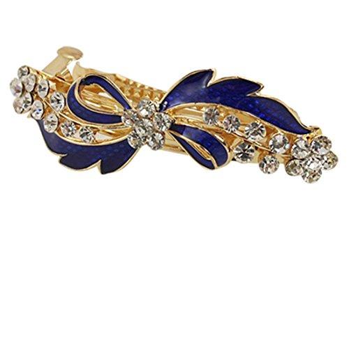 Sourcingmap Metall Strass Decor blau Schleife Haarklammer Haarspange, Gold Ton -