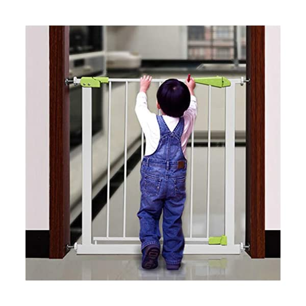 Infant child baby safety gate bar stairway fence free punching household protective railings pet dog isolation fence AA-SS-Safety Door ♥Squeeze and lift handle for easy one handed adult opening ♥Quick-release fittings for removal when not required ♥Includes stop pins for mounting at the top of stairs 3