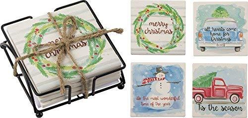 Primitives by Kathy Weihnachten 10,2cm Square Stein Untersetzer-Set Home Decor