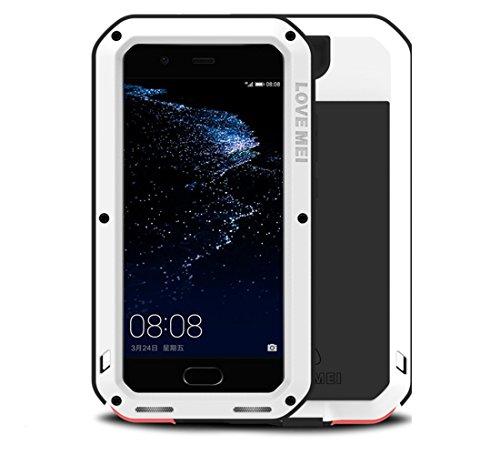 LOVE MEI Huawei P10 Plus Hülle, Metal Aluminum Stoßfest Tasche mit Gehärtetes Glas Corning Gorilla Glass Military Heavy Duty wasserdicht Fall für Huawei P10 Plus (Weiß)