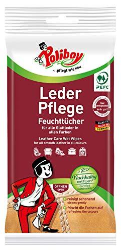 Poliboy - Leder Feuchttücher - perfekte Reinigung für Glatt- und Kunstleder - Einzeln - 1x20 Tücher - Made in Germany -