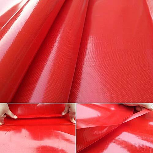 CJC Markisen Plane Schwerlast Tarps Wasserdicht PVC 14,7 Mil Dick, Mit Metallösen Zum Dach, Camping, Draussen, Terrasse (Color : Red, Size : 6x6m) -
