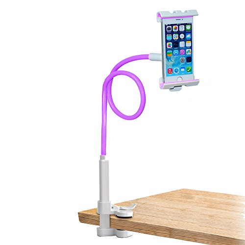 Gesicht Wiege (trellonics Schwanenhals Handy Halterung Klemme stand-360Grad drehbar verstellbar Freisprecheinrichtung Universal Halterung Wiege passt für alle iPhones Samsung und viele andere–wählen Sie aus 8Farben violett)