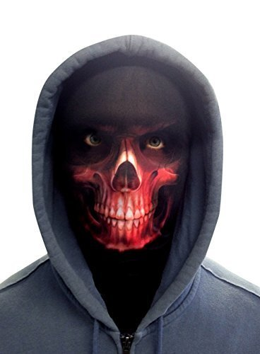 HALLOWEEN RED GRIM REAPER NOVELTY FUN FABRIC FACE MASK DESIGN SNOOD FACEMASK MADE IN YORKSHIRE