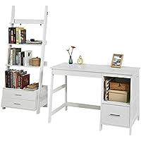 SoBuy Set de 1 Mesa de Escritorio y 1 estantería en Escalera,Blanco,FWT38-W+FRG230-W,ES (Mesa+Estantería)