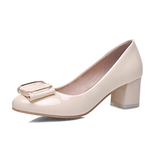 Chunky talons avec l'estuaire peu profond dans les chaussures de printemps/low chaussures bow en cuir verni/Chaussure douce a talons hauts B
