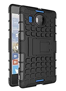Wellmart Hybrid Defender Military Grade Armor Kick Stand Back Case Cover for Microsoft Lumia 950 XL (Black)