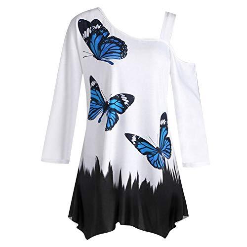 MRULIC Damen One Schulter Pullover Trägerlos Bluse Shirt Lovely Schmetterling Druck T-Shirt Tops Herbst (Y-Blau,2XL)