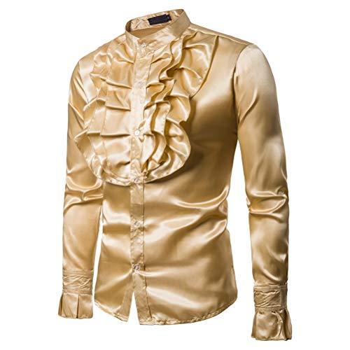 Männer Shiny Slim Button Down Rüschenhemd Dance Fancy Shirt Party Nachtclubs Kostüm Top (XL, Gelb)