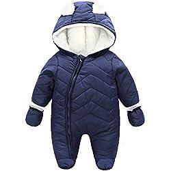 Ding-dong Bébé Garçon Fille Hiver Matelassée à Capuche Combinaisons de Neige Snowsuit(Bleu foncé,18-24Mois)