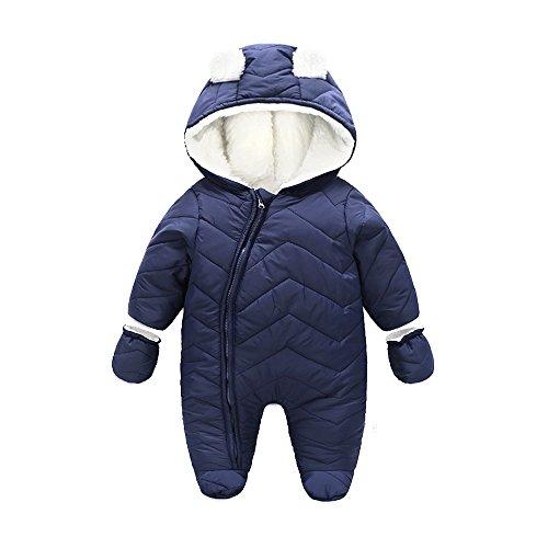 Ding-dong Bébé Garçon Fille Hiver Matelassée à Capuche Combinaisons de Neige Snowsuit avec Gants(Bleu foncé,12-18Mois)