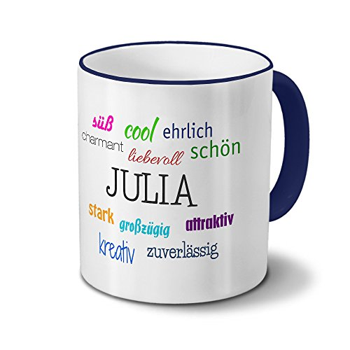 printplanet Tasse mit Namen Julia - Positive Eigenschaften von Julia - Namenstasse, Kaffeebecher, Mug, Becher, Kaffeetasse - Farbe Blau