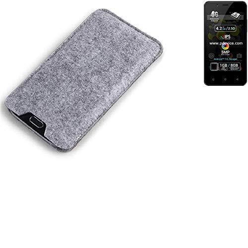K-S-Trade Filz Schutz Hülle für Allview P4 Pro Schutzhülle Filztasche Filz Tasche Case Sleeve Handyhülle Filzhülle grau