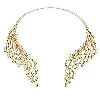 MJARTORIA Women Gold Color Rhinestone Cuff Boho Collar Sweater Statement Necklace
