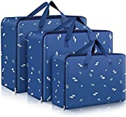 3-Pieces Oxford Large Clothes Organizer Storage Bags for Comforters and Blankets Clothing,with Strong Handles